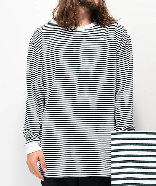 Vans Awbrey White & Green Stripe Knit Long Sleeve T-Shirt