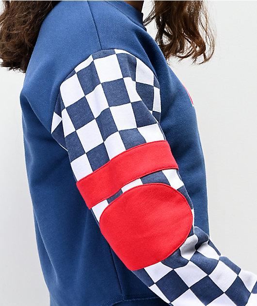 Vans BMX Red White & Blue Crop Crew Neck Sweatshirt