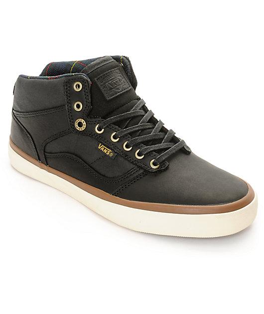 Vans Bedford Black, White, & Plaid Nubuck Skate Shoes   Zumiez