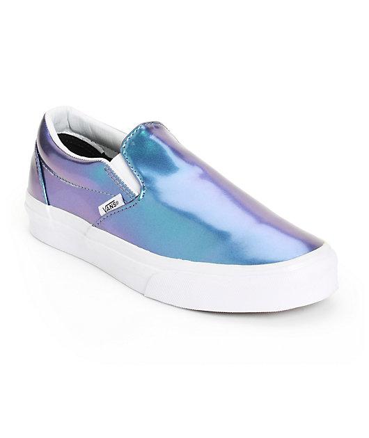 Vans Blue Patent Leather Slip-On Shoes