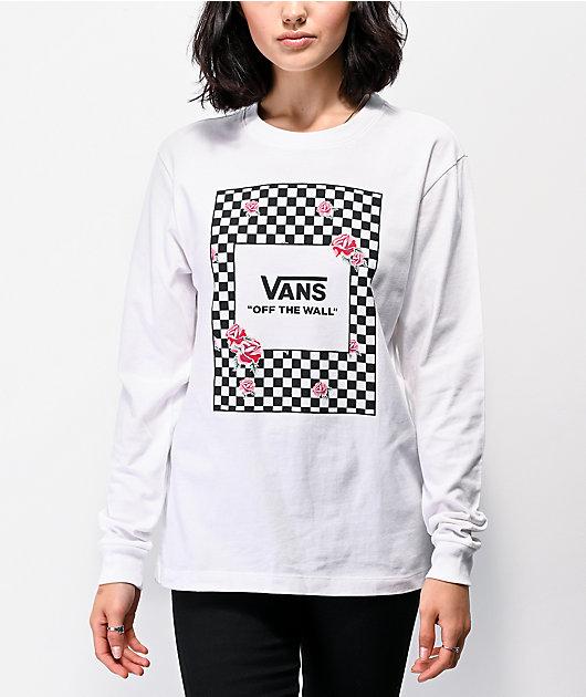 Vans Boxed Roses White Long Sleeve T-Shirt