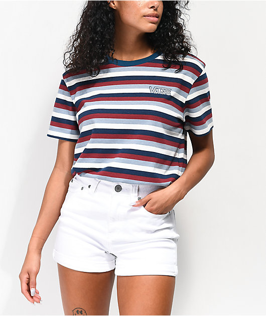 Vans Boyfriend Red, White & Blue Striped T-Shirt