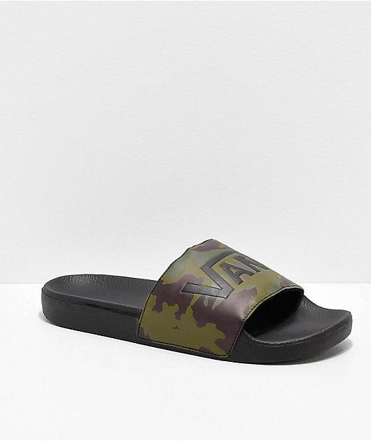 Vans Camo Black \u0026 Green Slide Sandals