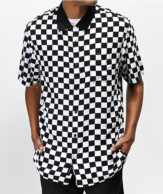 Vans Camp Black & White Checkerboard Woven Short Sleeve Button Up Shirt