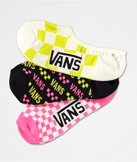Vans Canoodle After Dark Neon 3 Pack No Show Socks