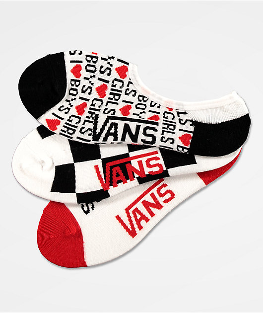 Vans Canoodle Boys & Girls 3 Pack No Show Socks
