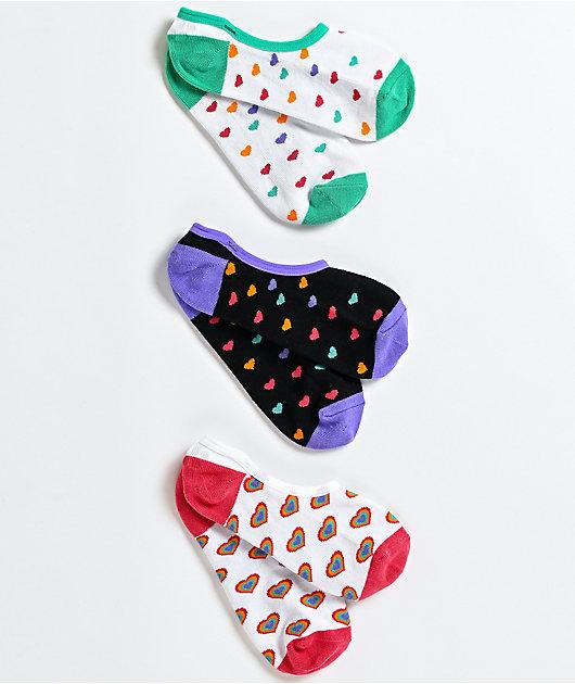 Vans Canoodle Rainbow paquete de 3 calcetines invisibles