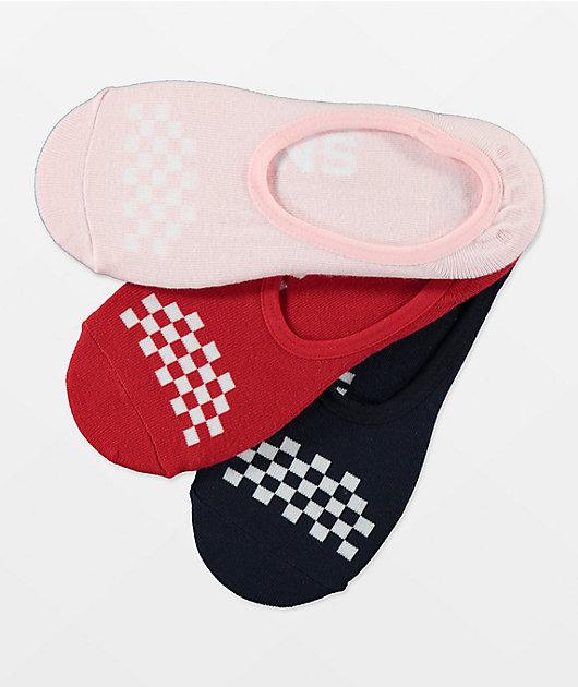 Vans Canoodle Red, Pink & Black 3 Pack No Show Socks