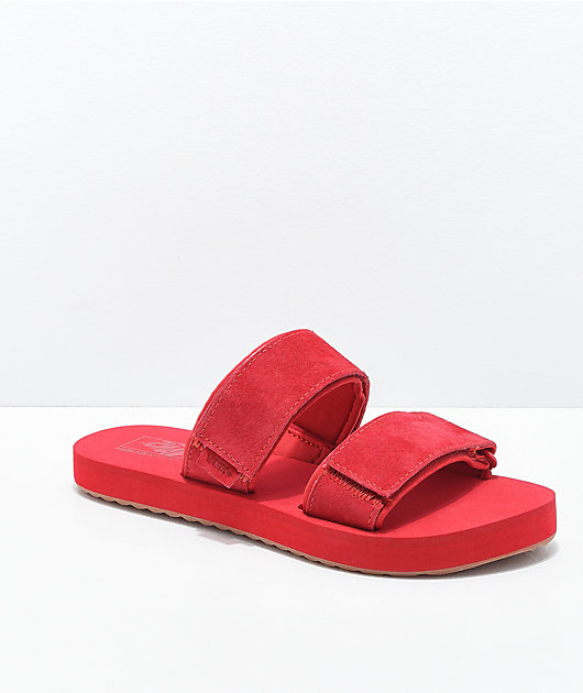 Vans Cayucas Red 2 Strap Slide Sandals
