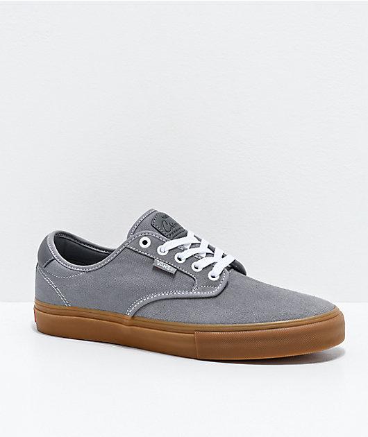 Vans Chima Pro Grey & Gum Skate Shoes | Zumiez