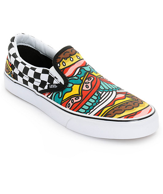 Vans Classic Burger Checkerboard Mens Slip On Shoes