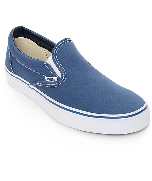 Vans Classic Slip On Navy Shoes   Zumiez