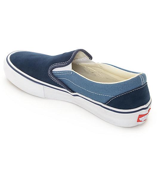 Vans Classic Slip-On Pro Navy & Blue 2 Tone Skate Shoes