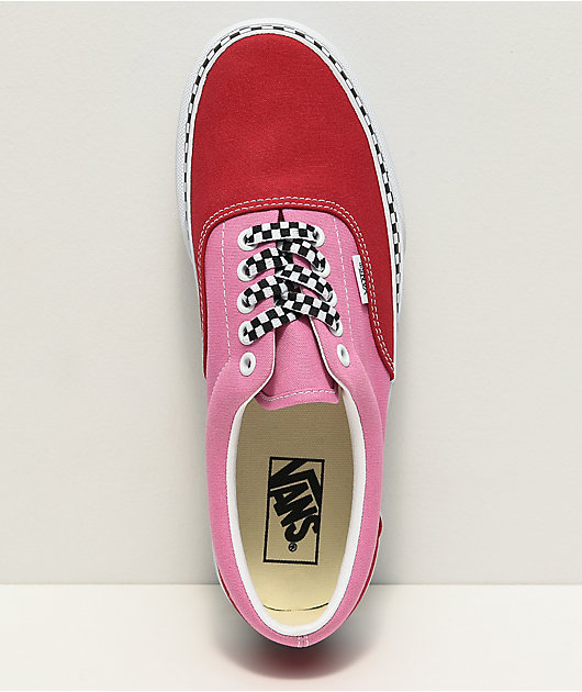 Vans Era Checkerboard Foxing Chili Red & Pink Platform Shoes