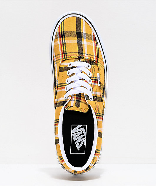 Vans Era Plaid Yellow & White Skate Shoes