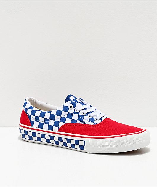 Vans Era Pro Red, Blue & White Checkerboard Skate Shoes