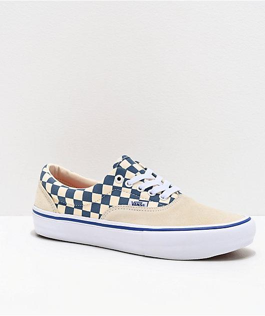 Vans Era Pro White & Blue Checkerboard Skate Shoes