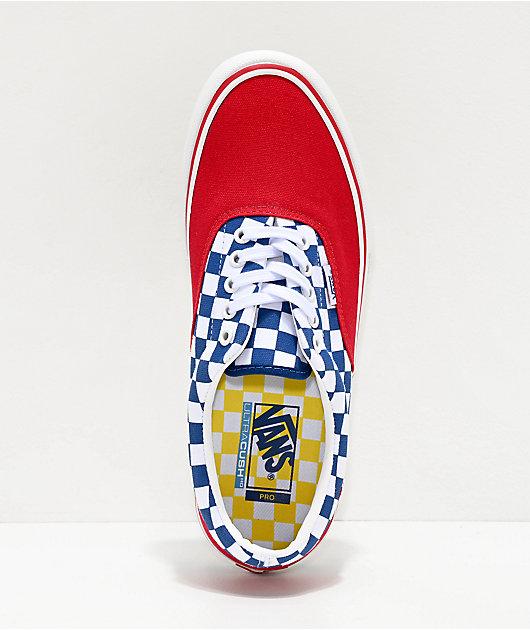 Vans Era Pro zapatos de skate de cuadros rojos, azules y blancos