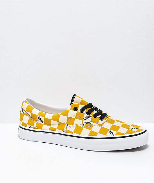 Vans Era Yolk Yellow & White Big Checkerboard Skate Shoes