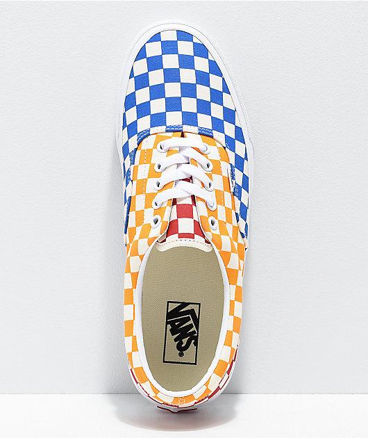 Vans Era zapatos de skate de cuadros rojos, azules y amarillos