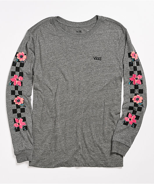 Vans Florally Checked Grey Long Sleeve T-Shirt