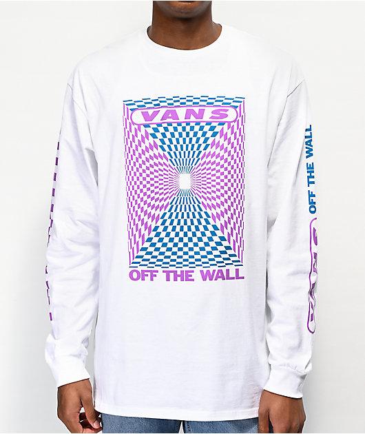 Vans Kaleidoscope Checkerboard camiseta blanca de manga larga