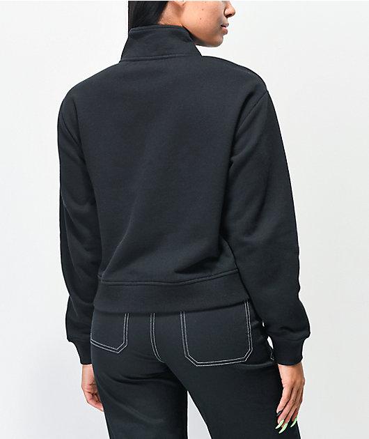 Vans Logo Black Half Zip Mock Neck Crop Sweatshirt