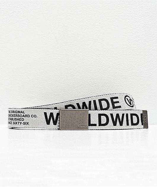Vans Long Deppster Logo cinturón tejido negro y blanco