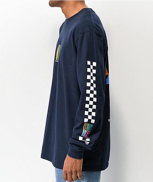 Vans Multi Checkerboard Stack Navy Long Sleeve T-Shirt