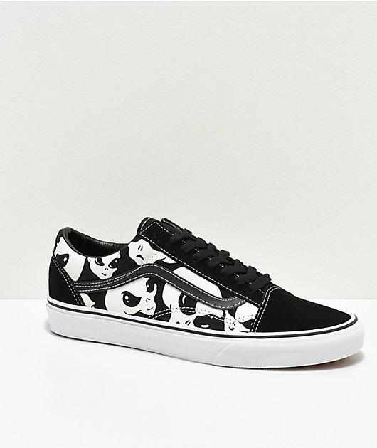 Vans Old Skool Alien Ghost zapatos de skate negros y blancos