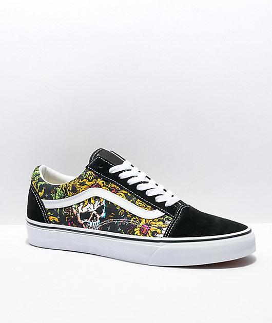 Vans Old Skool Beauty Skull Black & White Skate Shoes