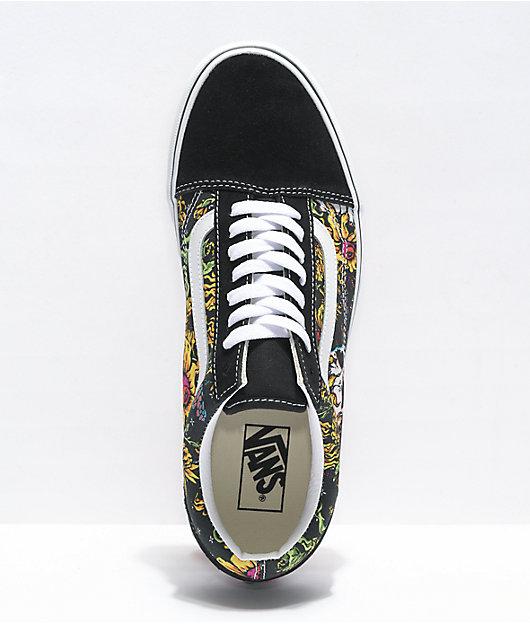 Vans Old Skool Beauty Skull zapatos de skate blancos y negros