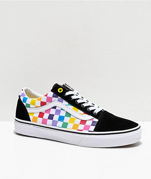 Vans Old Skool Black, White & Rainbow Checkerboard Skate Shoes