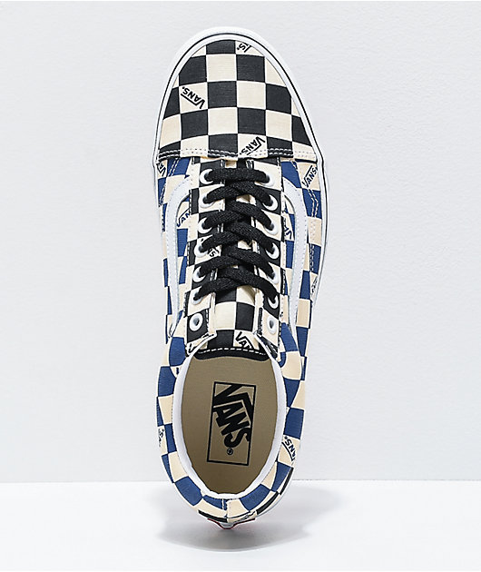 Vans Old Skool Black & Navy Big Checkerboard Skate Shoes