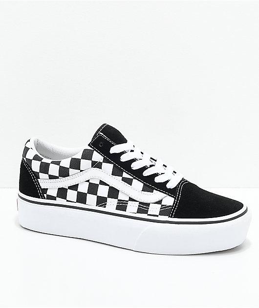 Vans Old Skool Black & White Checkered Platform Shoes
