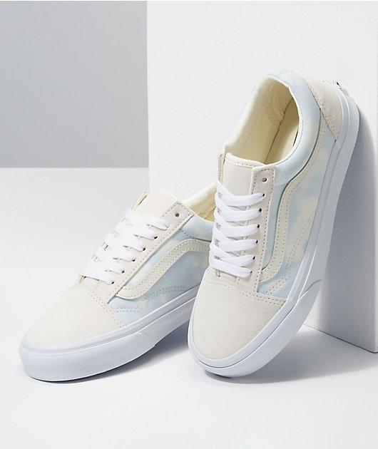 Vans Old Skool Bleach Wash & White Skate Shoes