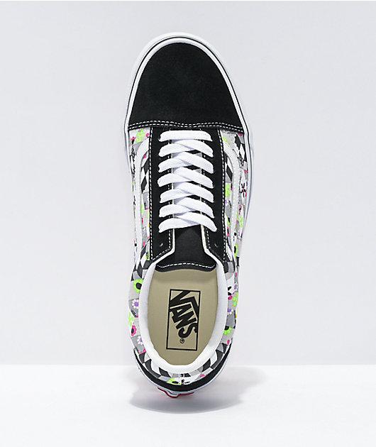 Vans Old Skool Checkerboard Cube Black & White Skate Shoes