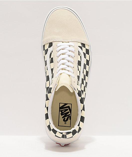 Vans Old Skool Checkerboard White Skate Shoes