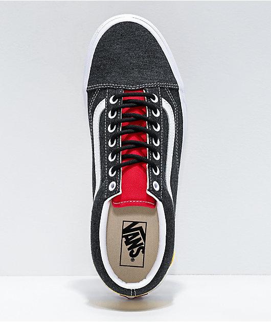 Vans Old Skool Coastal Black, Red & Yellow Skate Shoes