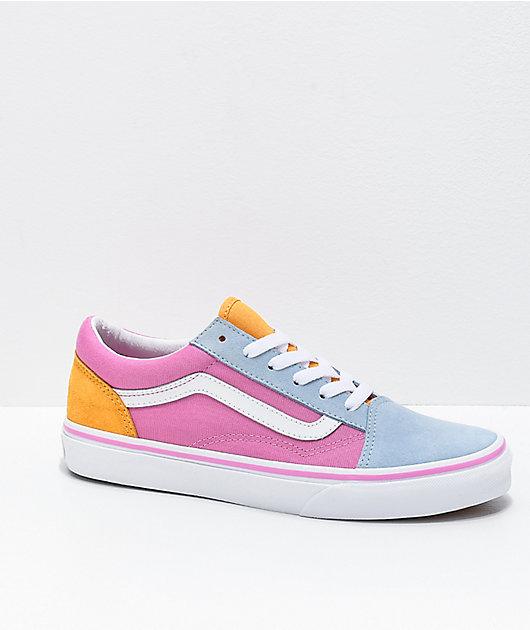 Vans Old Skool Colorblock Pink, Orange & Light Blue Skate Shoes