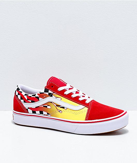 Vans Old Skool Flame Checkerboard Skate Shoes