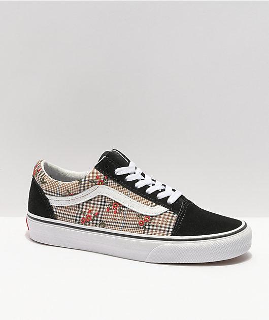 Vans Old Skool Glen Plaid & Floral Skate Shoes