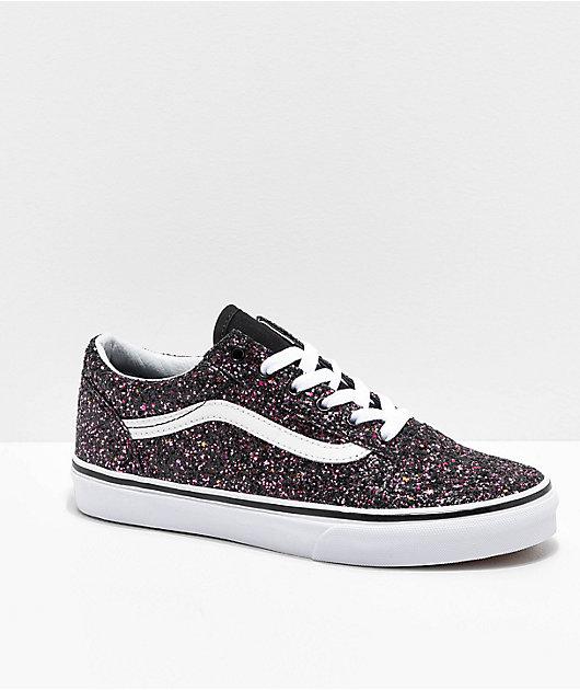 Vans Old Skool Glitter Star Black Skate Shoes