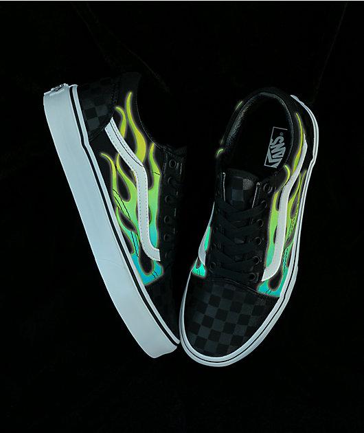 Vans Old Skool Glow Flame Black Checkerboard Skate Shoes