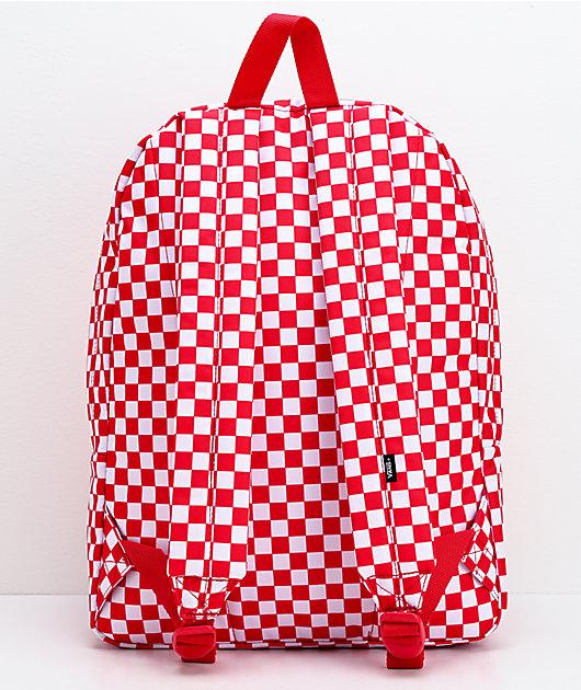 Vans Old Skool III  mochila roja y blanca de cuadros