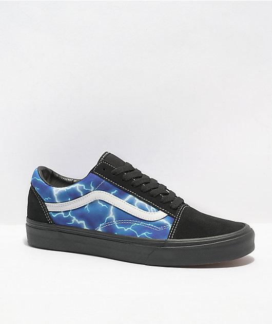 Vans Old Skool Lightning Black & Blue Skate Shoes