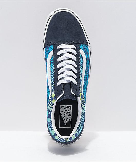 Vans Old Skool Logo Flame Navy & White Skate Shoes