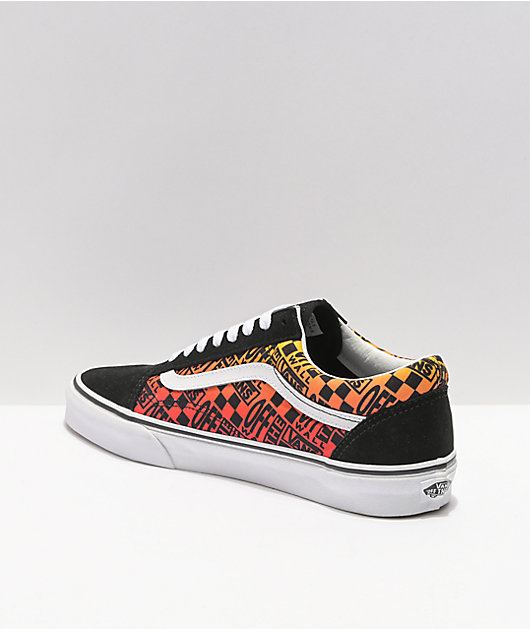 Vans Old Skool Logo Flame zapatos de skate negros y blancos