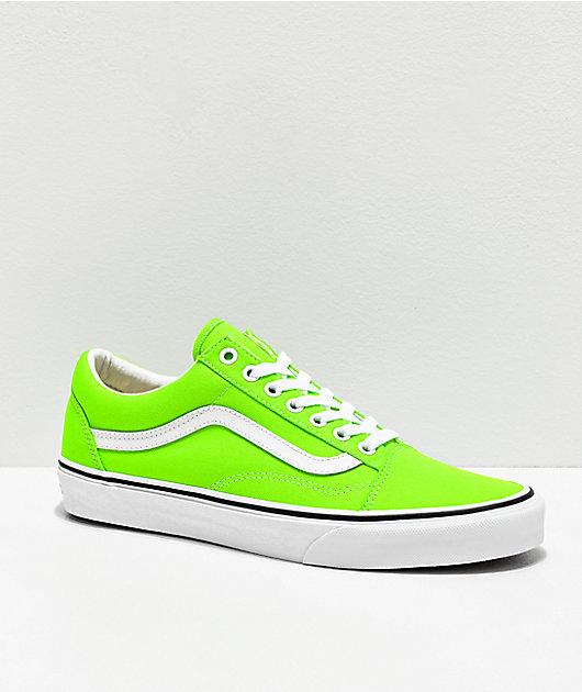 Vans Old Skool Neon Gecko zapatos de skate verdes y blancos