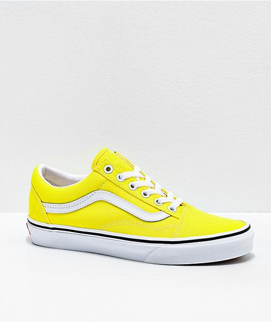 Vans Old Skool Neon Lemon & White Skate Shoes